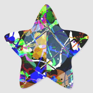 Colorful Abstract Mixed Media Star Sticker