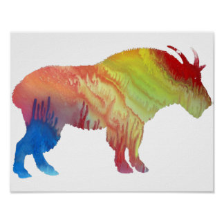 Colorful abstract Mountain Goat silhouette Poster