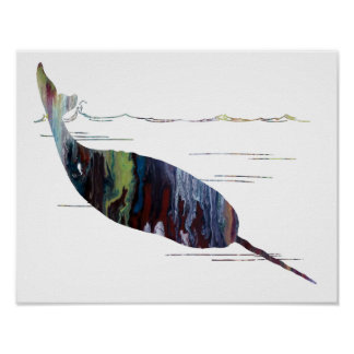 Colorful abstract narwhal silhouette poster