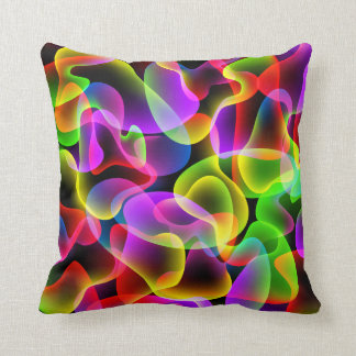 Colorful Abstract Neon Lava Swirls Throw Pillows