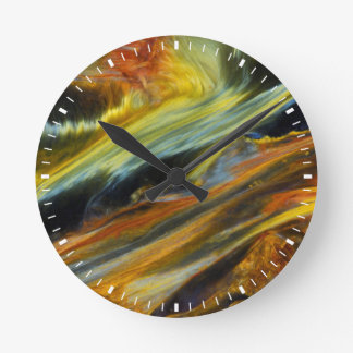 Colorful abstract of Pietersite Round Clock
