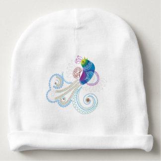 Colorful Abstract Ornate Bird Baby Beanie