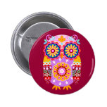 Colorful Abstract Owl Button