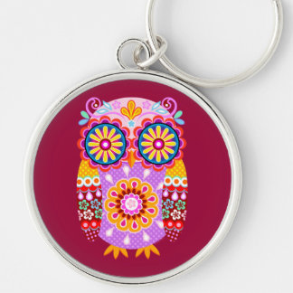 Colorful Abstract Owl keychain