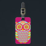"""Colorful Abstract Owl Luggage Tag<br><div class=""""desc"""">This Colorful Abstract Owl Luggage Tag features the cute,  colorful owl art of Thaneeya McArdle!  This funky owl features bright colors and detailed,  whimsical designs drawn in a folk art style.</div>"""