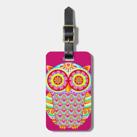 Colorful Abstract Owl Luggage Tag