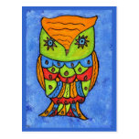 Colorful Abstract Owl Postcard