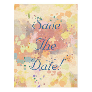 Colorful Abstract Paint Splash Save The Date Postcard