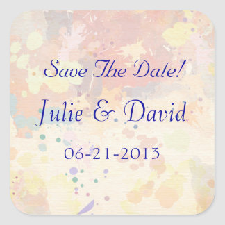 Colorful Abstract Paint Splash Save The Date Square Sticker