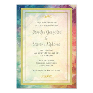 Colorful Abstract Paint Wedding Card