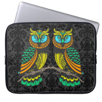 Colorful Abstract Pair Of Owls Computer Sleeve
