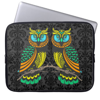 Colorful Abstract Pair Of Owls Computer Sleeves