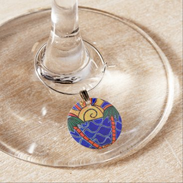 Beach Themed Colorful Abstract Palm Trees Beach Sunset Wine Charm