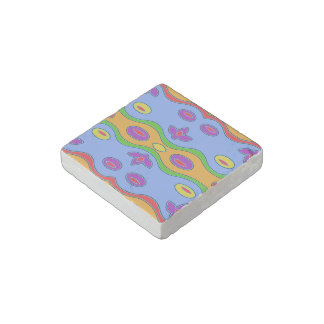 Colorful Abstract Pattern Blue Marble Stone Magnet