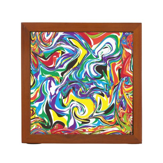 Colorful Desks: Colorful Abstract Pattern Desk Organizer