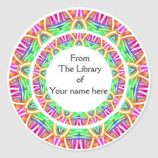 Colorful Abstract Pattern Library Bookplates Classic Round Sticker