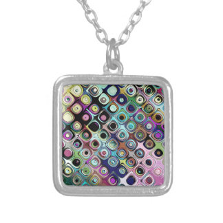 Colorful Abstract Pattern Silver Plated Necklace