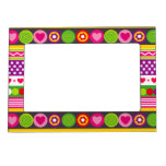 Colorful abstract pattern with flowers hearts dots magnetic frame