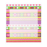 Colorful abstract pattern with flowers hearts dots memo pad