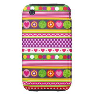 Colorful abstract pattern with flowers hearts dots tough iPhone 3 case