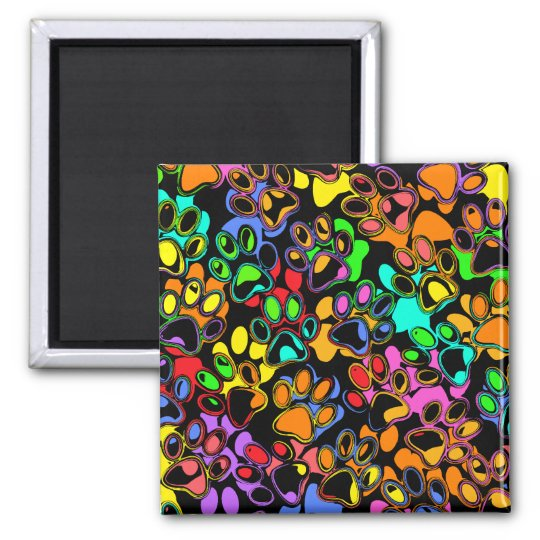 Colorful Abstract Paw Prints Magnet