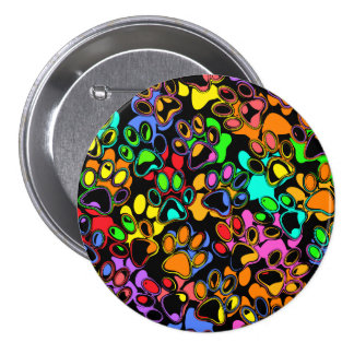 Colorful Abstract Paw Prints Pinback Button