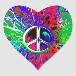 Colorful Abstract Peace Sign Heart Sticker
