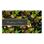 Colorful Abstract Peacocks On Black Background Business Card Templates