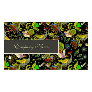 Colorful Abstract Peacocks On Black Background Business Card
