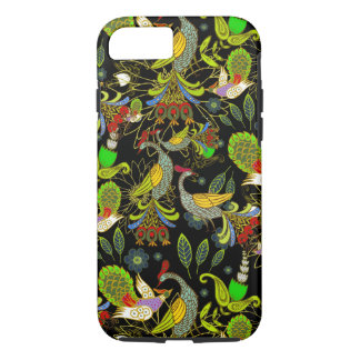 Colorful Abstract Peacocks On Black Background iPhone 7 Case
