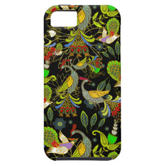 Colorful Abstract Peacocks On Black Background iPhone SE/5/5s Case