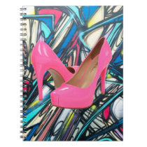 Colorful Abstract Pink High Heels Pattern Design Notebook
