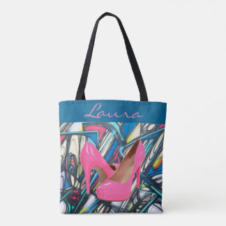 Colorful Abstract Pink High Heels Pattern Design Tote Bag