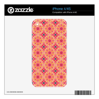 Colorful abstract pink orange floral pattern. iPhone 4S decals