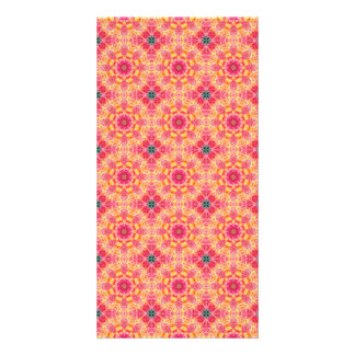 Colorful abstract pink orange floral pattern. photo card
