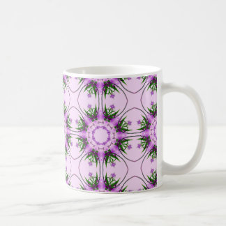 Colorful abstract pink purple green floral pattern coffee mug
