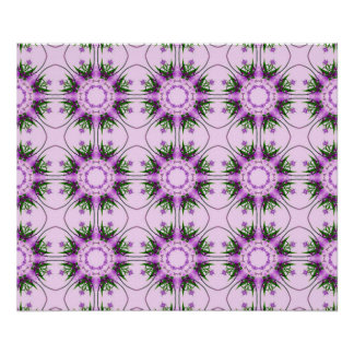 Colorful abstract pink purple green floral pattern poster