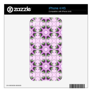 Colorful abstract pink purple green floral pattern skins for iPhone 4