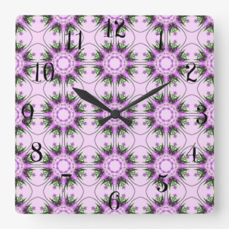 Colorful abstract pink purple green floral pattern square wall clock
