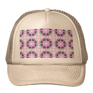 Colorful abstract pink purple green floral pattern trucker hat