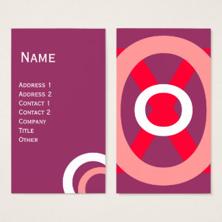 COLORFUL ABSTRACT PINK PURPLE RED WHITE CIRCLES BUSINESS CARD