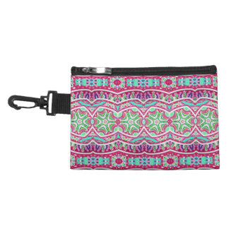 Colorful abstract pink teal floral pattern. accessory bag