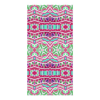 Colorful abstract pink teal floral pattern. card
