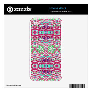 Colorful abstract pink teal floral pattern. iPhone 4S decal