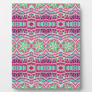 Colorful abstract pink teal floral pattern. plaque