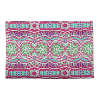 Colorful abstract pink teal floral pattern. travel accessories bag
