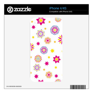 Colorful abstract pink, yellow and blue flowers iPhone 4 skin
