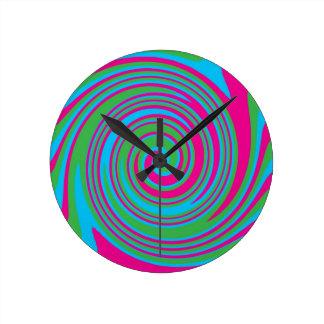 Colorful abstract pinwheel design round clock