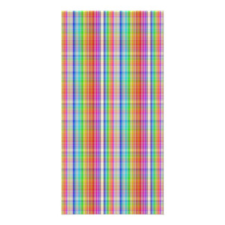 Colorful abstract plaid pattern card