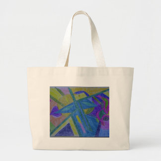 Colorful, abstract primitive art tote bags